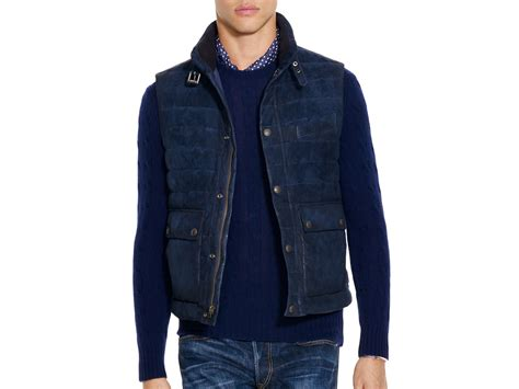 Polo Ralph Lauren Quilted Suede Down Vest In Blue For Men