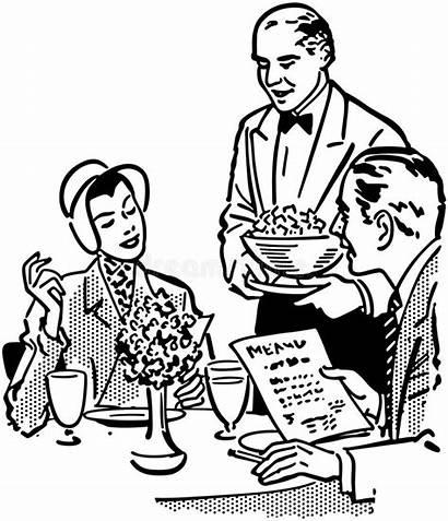 Couple Elegant Dining Paare Elegante Cartoon Waiters