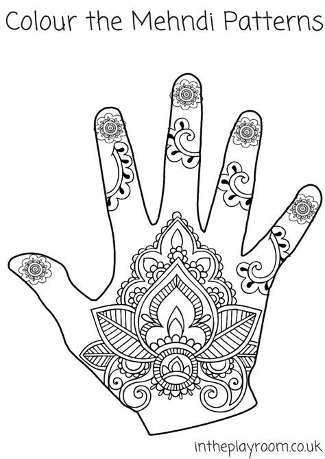 mehndi colouring pages in the playroom