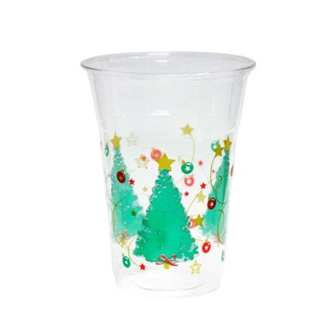 plastic cups christmas tree essentials 20 count soft plastic printed cups 16 ounce trees business