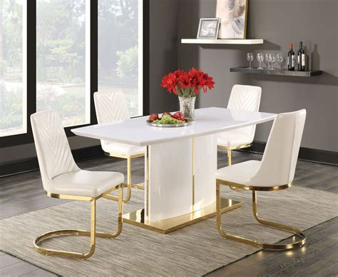 cornelia high gloss white dining room set  coaster