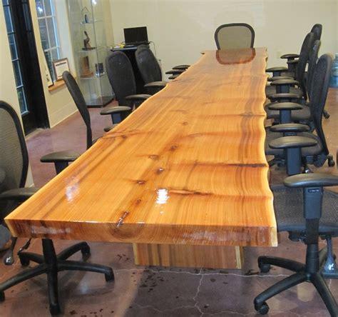 edge reclaimed cedar slab conference table