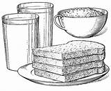 Breakfast Coloring Toast Juice Milk Meal Glass Foods Cereal Bowl Orange sketch template