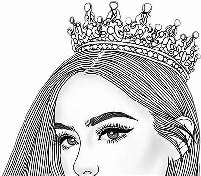 Crown Drawing Clipart Head Queen Drawings Tumbler