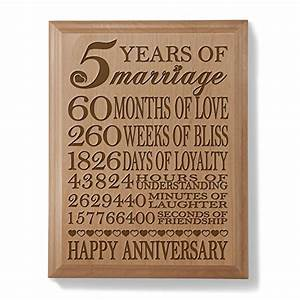 kate posh 5th anniversary engraved natural wood plaque With five year wedding anniversary gift