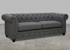 Traditional gray fabric sofa with nailhead trim for Grey sectional sofa with nailhead trim