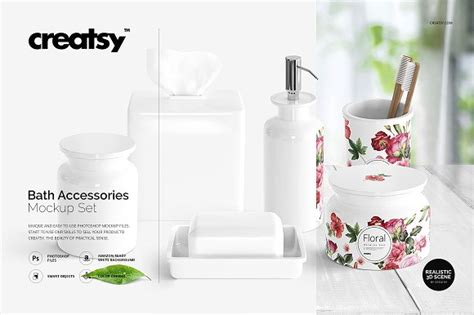 bath accessories mockup set  high quality mockup psd template
