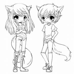 Free cute anime cat girl coloring pages
