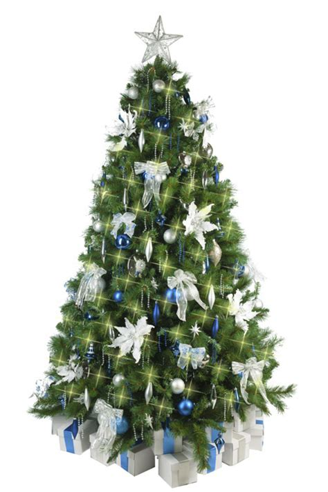 christmas tree  blue silver decorations