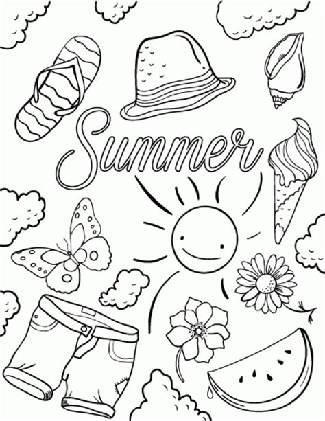 summer color pages 20 free printable summer coloring pages