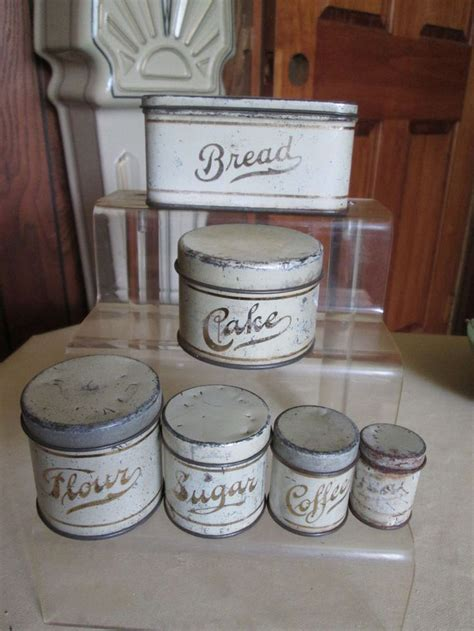 kitchen canister set vintage child 39 s tin canister 12 pc set circa 1940 39 s metal