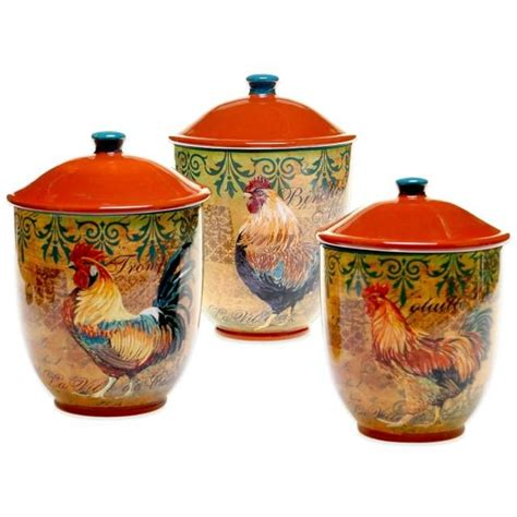 rooster canisters kitchen products product image for certified international rustic rooster 3