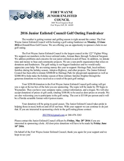 golf outing letter