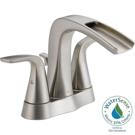 delta tolva 4 in centerset 2 handle bathroom faucet in