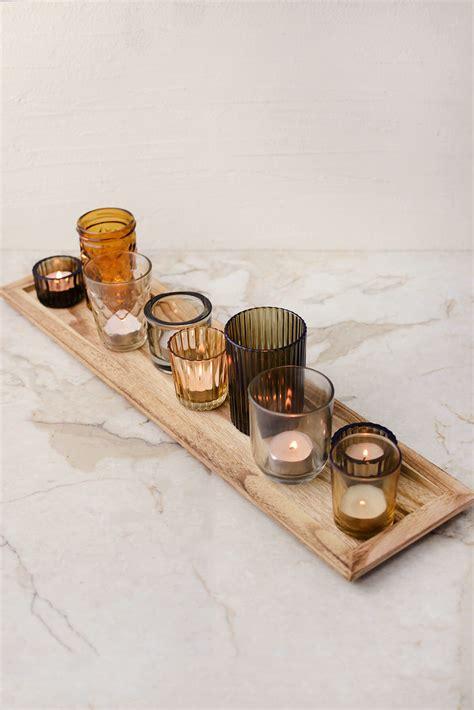wood tray   votive holders