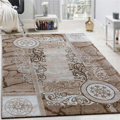 teppich beige kurzflor designer teppich floral meliert beige teppichcenter24
