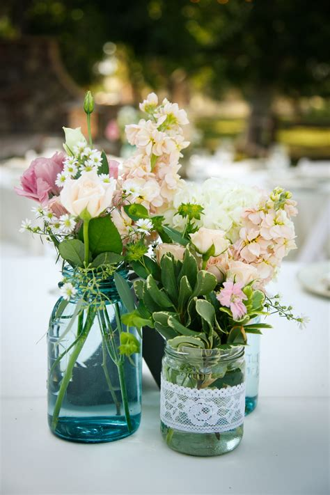 Country Wedding Table Flowers Turquoise Mason Jars And