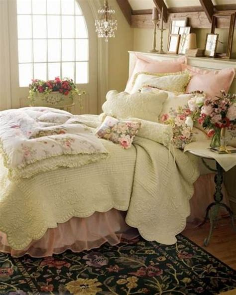 shabby chic decorating good looking floral motif on rug under master bed and on pillow cover installed at girl bedroom