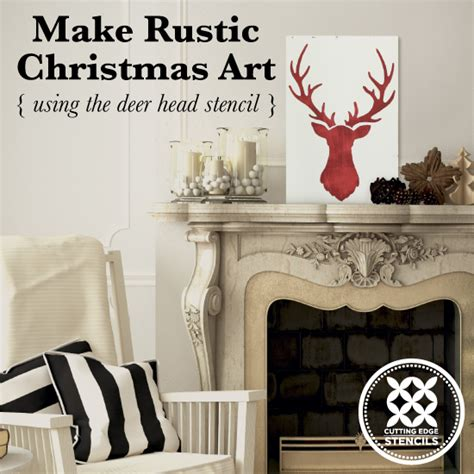 rustic christmas art   deer head stencil
