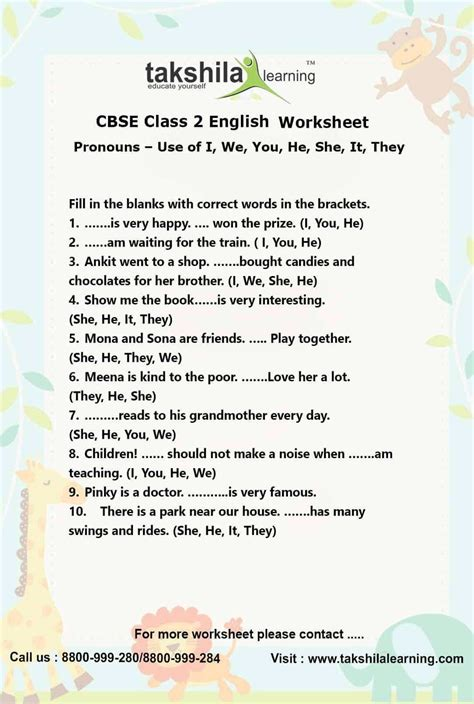 ncert cbse class 2 english use of pronouns practice worksheet
