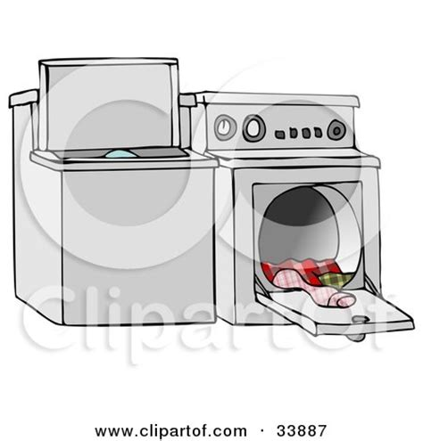 top loading washing machine and an open dryer with warm clothes posters art prints by djart