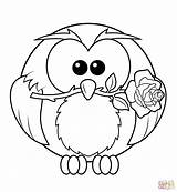 Coloring Owl Pages Rose Printable Owls Colouring Resolution Drawing Animals sketch template