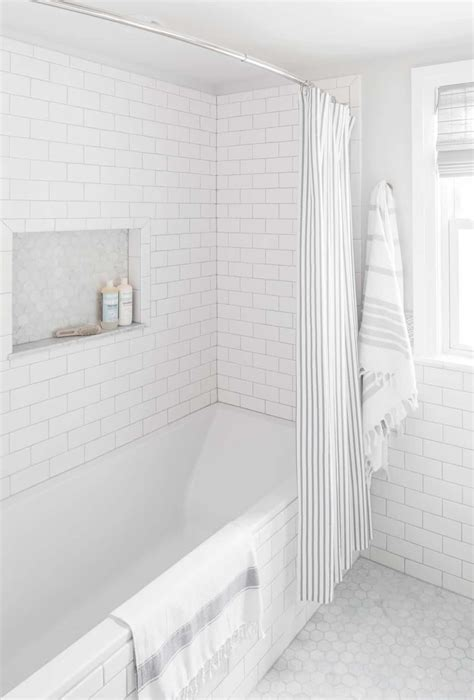 small bathroom renovation white subway tile centered