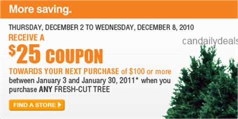 christmas tree coupons home depot canadian daily deals home depot receive 25 coupon when you purchase fresh cut tree dec 2 8