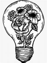 Lightbulb Flower Bulb Pencil Line Hein Meagan Drawings Sticker Drawing Tattoos Coloring Grenade Pages sketch template