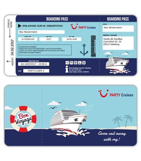 einladungskarte als bordkarte schiffsticket