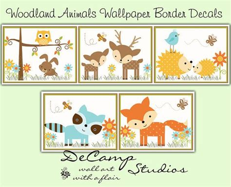 Animal Wallpaper For Children S Bedroom - woodland nursery decal wallpaper border forest creatures