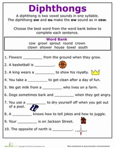 practice reading vowel diphthongs ow phonics