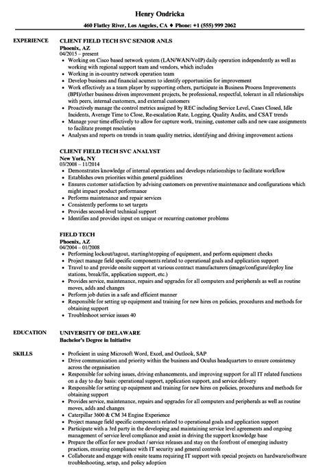 Tech Resume by Field Tech Resume Sles Velvet