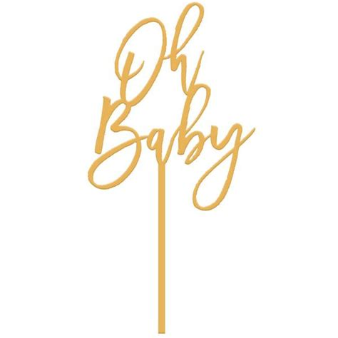 shabby chic livingroom moon and lola oh baby cake topper gold