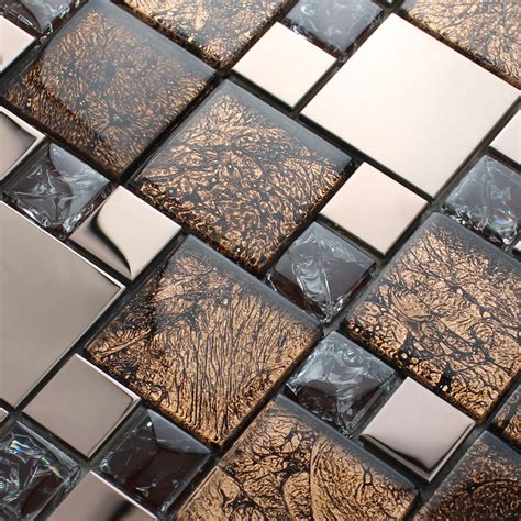 silver stainless steel metal mosaics crackle glass tile