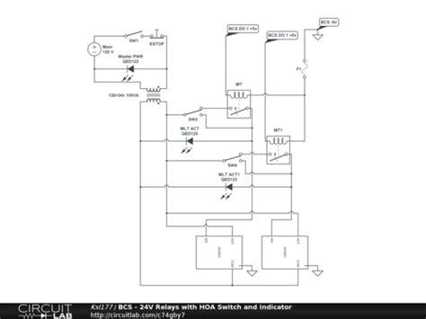 bcs  relays  hoa switch  indicator circuitlab