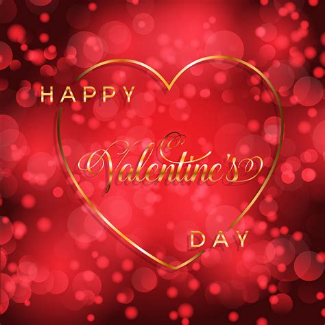 Valentine's Day background with gold heart and lettering ...