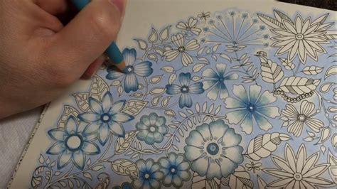secret garden blue vintage flowers coloring part