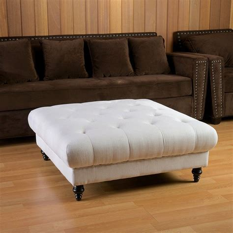 white square tufted leather ottoman coffee table with