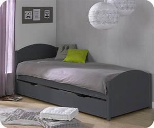 Lit Garçon Original : lit ado pac me 90x200 cm gris anthracite ~ Preciouscoupons.com Idées de Décoration