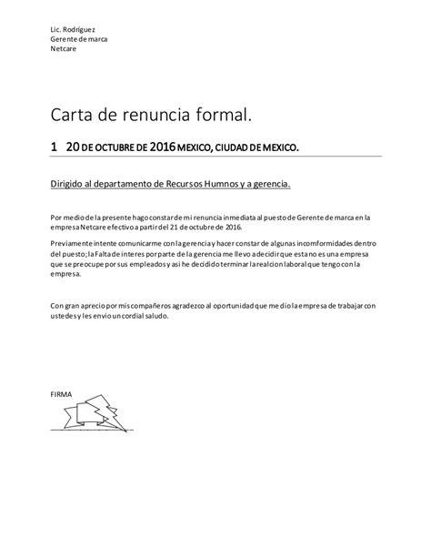 resignation letters sles carta de renuncia formal 47496