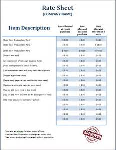 Rate Sheet Template Ms Word Formal Rate Sheet Template Word Excel Templates