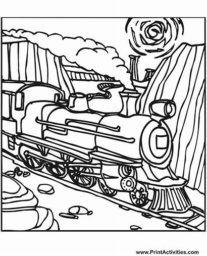 Train Coloring Pages Steam Trains Printable Engine