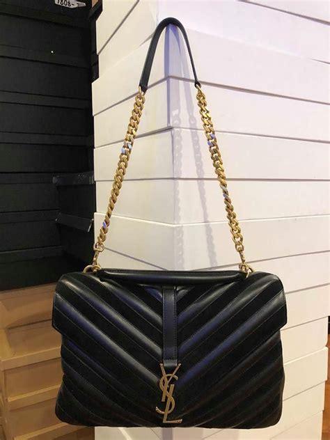 saint laurent monogram ysl medium college chevron gold black leather shoulder bag tradesy