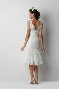 Stylish photos of short lace ivory wedding dresses for Short ivory wedding dresses
