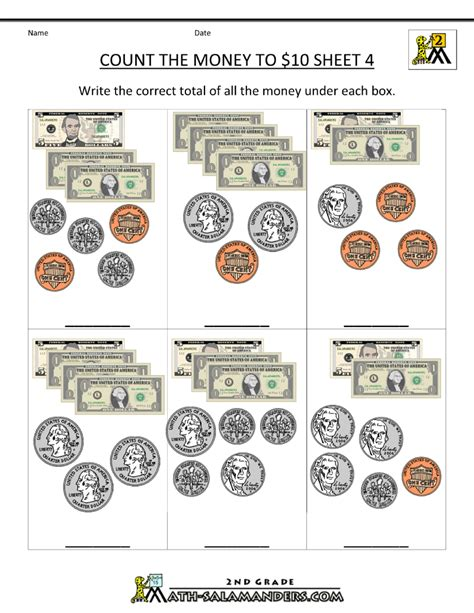 Printable Money Worksheets To $10