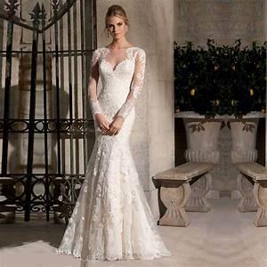 vestidos de noiva sereia modest long sleeve lace wedding With aliexpress robe de celebrite