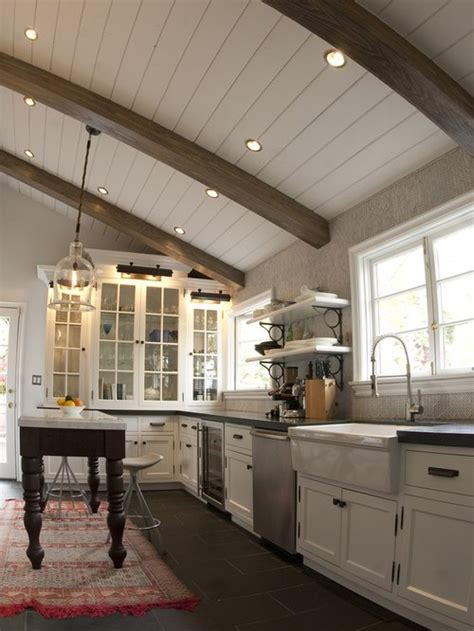 white tongue  groove ceiling houzz