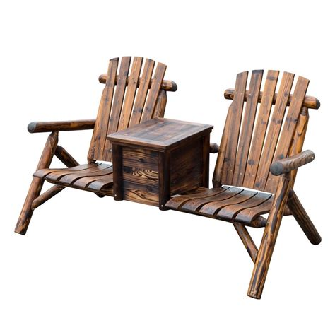 Outdoor 2 Seat Double Adirondack Wood Bench Chair W Ice