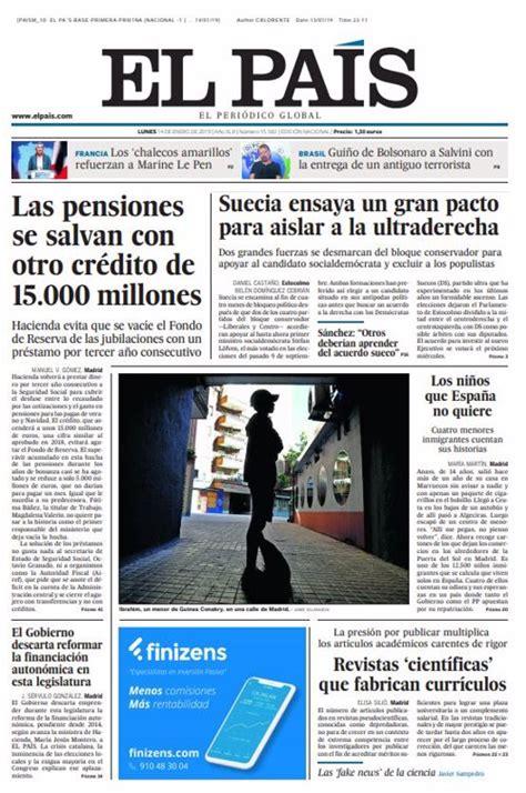 Las portadas de los periódicos del lunes 14 de enero de 2019